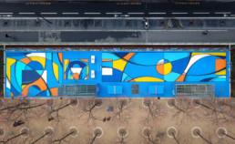 art urbain, abstraction, lignes, couleur primaires