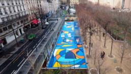 vue du ciel, Art urbain, street art, terrain de jeux