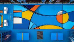 Street Art, terrain de foot, urbain, abstrait
